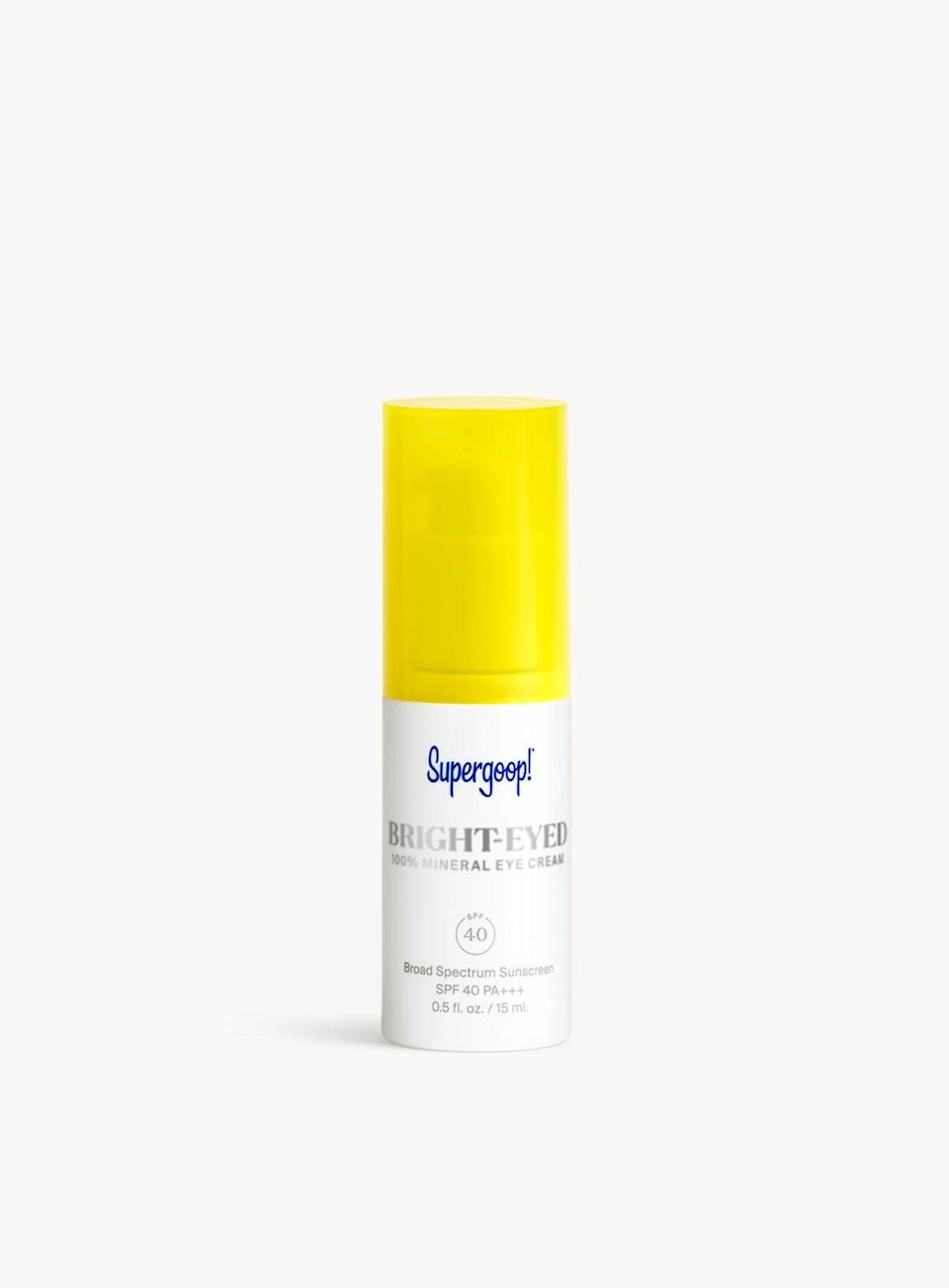 "<h3>Supergoop! Bright-Eyed 100% Mineral Eye Cream SPF 40</h3><br>Leave it to <a href=""https://www.refinery29.com/en-us/2018/08/205746/supergoop-sunscreen-sephora-history"" rel=""nofollow noopener"" target=""_blank"" data-ylk=""slk:sunscreen disruptor Supergoop!"" class=""link rapid-noclick-resp"">sunscreen disruptor Supergoop!</a> to create an eye cream with 100% zinc oxide that absorbs instantly with zero white cast. Not only does it blend in seamlessly to visually brighten the area, but it protects from UV rays and blue light, too.<br><br><strong>Supergoop!</strong> Bright-Eyed 100% Mineral Eye Cream SPF 40, $, available at <a href=""https://go.skimresources.com/?id=30283X879131&url=https%3A%2F%2Fwww.sephora.com%2Fproduct%2Fsupergoop-bright-eyed-100-mineral-eye-cream-spf-40-P453226%3FskuId%3D2315190%23locklink"" rel=""nofollow noopener"" target=""_blank"" data-ylk=""slk:Sephora"" class=""link rapid-noclick-resp"">Sephora</a>"