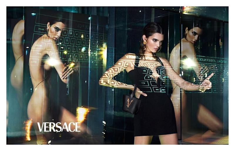 Kendall Jenner for Versace, nude and wearing a dress