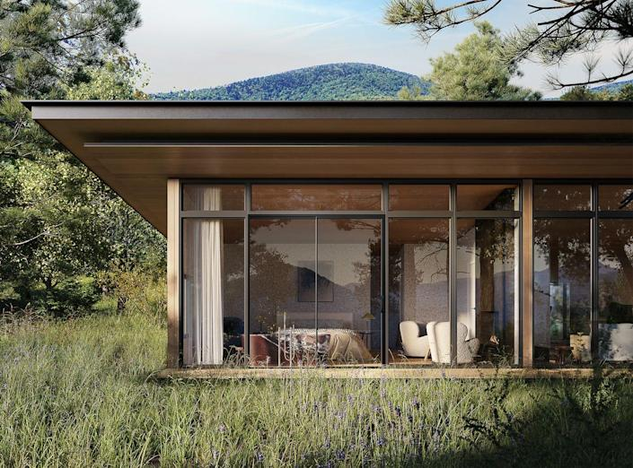 """<p>Sprawling over 131 acres in the Catskills, this new destination hotel is sure to become a hotspot for New Englanders seeking a luxurious escape, with digs inspired by ancient Rome. Guests can find extra privacy in <a href=""""https://www.theaurum.com/"""" rel=""""nofollow noopener"""" target=""""_blank"""" data-ylk=""""slk:The Aurum"""" class=""""link rapid-noclick-resp"""">The Aurum</a>'s standalone mountain bungalows (shown here) if they want something more secluded than a room or suite, which have views of the mountains and private outdoor garden areas. Those looking for more of a social scene can take advantage of Aurum Thermae, the property's bath house and focal point, inspired by the monumental domes first seen in the Roman Imperial period, offering a unique wellness experience for the U.S.<em><br></em></p><p><em>The Aurum is expected to open in fall 2021 with rates yet to be determined. </em></p>"""