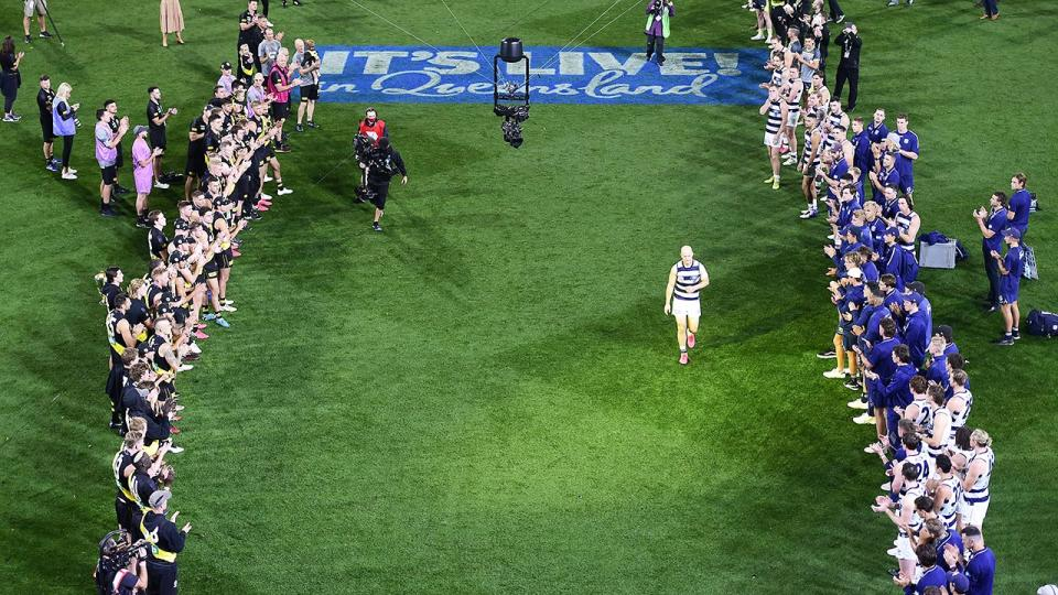 Gary Ablett, pictured here receiving a guard of honour after the AFL grand final.