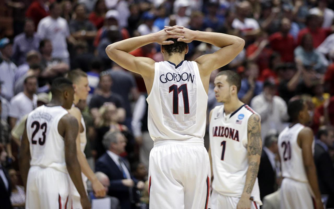 Arizona's Aaron Gordon reacts after overtime in a regional final NCAA college basketball tournament game against Wisconsin, Saturday, March 29, 2014, in Anaheim, Calif. Wisconsin won 64-63 in overtime. (AP Photo/Jae C. Hong)