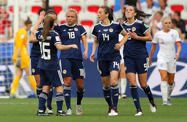 Claire Emslie celebrates her goal for Scotland (Photo by Richard Heathcote/Getty Images)