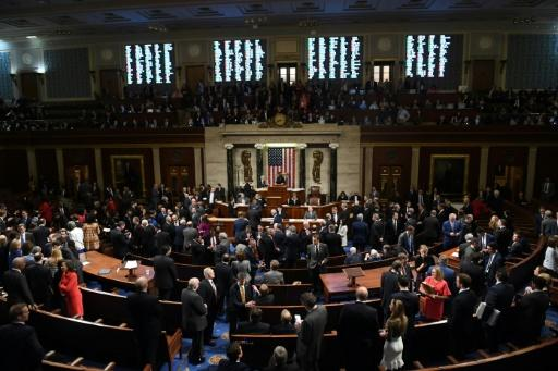US Speaker of the House Nancy Pelosi presides over voting on articles of impeachment against President Donald Trump on Wednesday