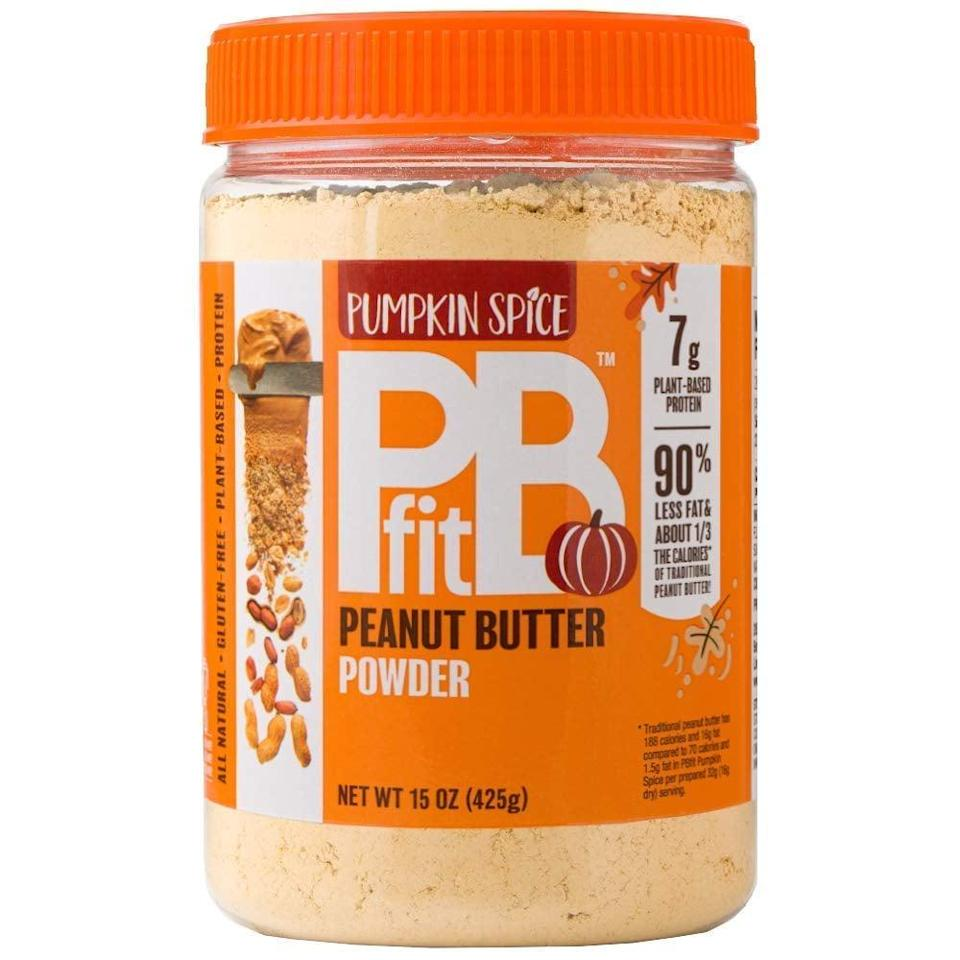 <p>Added to smoothies, oatmeal, or baked goods the way you would protein powder, this <span>PBfit Pumpkin Spice Peanut Butter Powder</span> ($12) offers seven grams of protein per 70 calorie serving. </p>