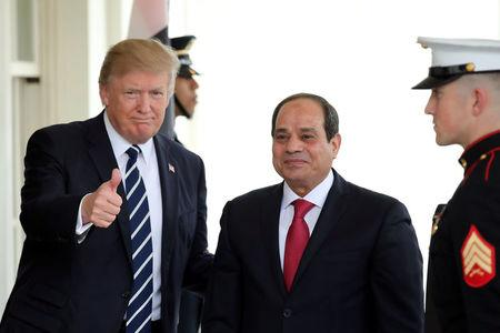 U.S. President Donald Trump welcomes Egypt's President Abdel Fattah al-Sisi at the White House in Washington, U.S.