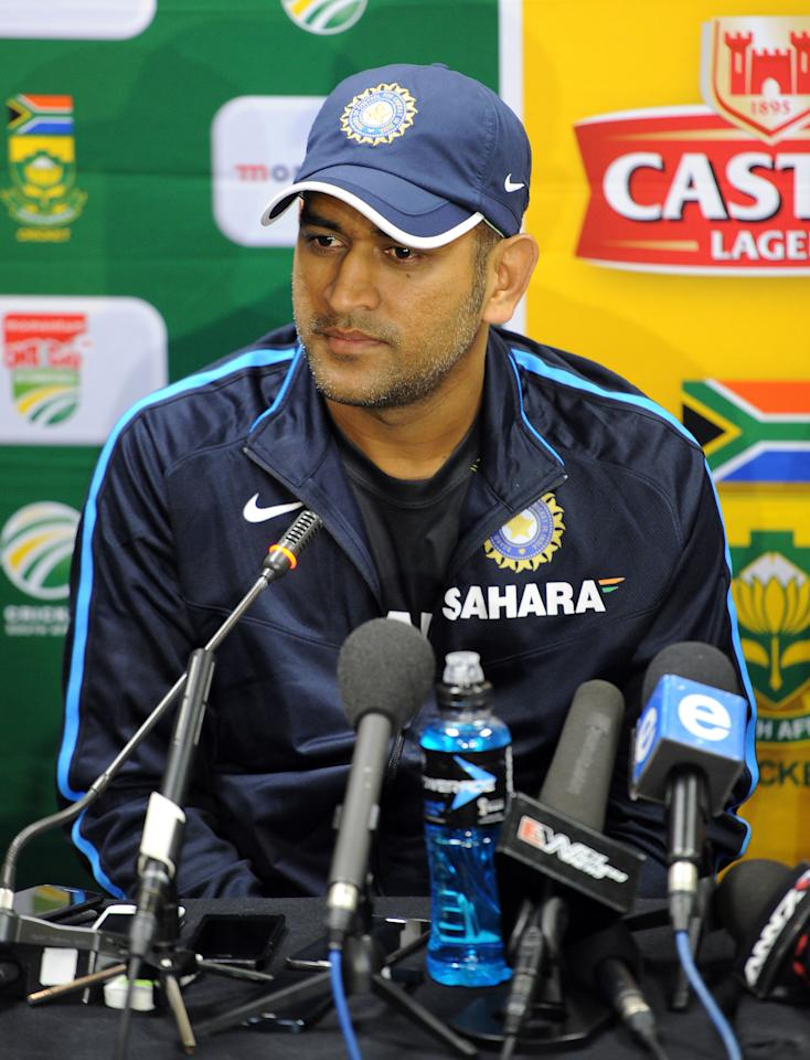JOHANNESBURG, SOUTH AFRICA - DECEMBER 02: Indian cricket team captain MS Dhoni during the Indian National cricket team arrival press conference at Sandton Sun Hotel on December 02, 2013 in Johannesburg, South Africa. (Photo by Gallo Images/Getty Images)