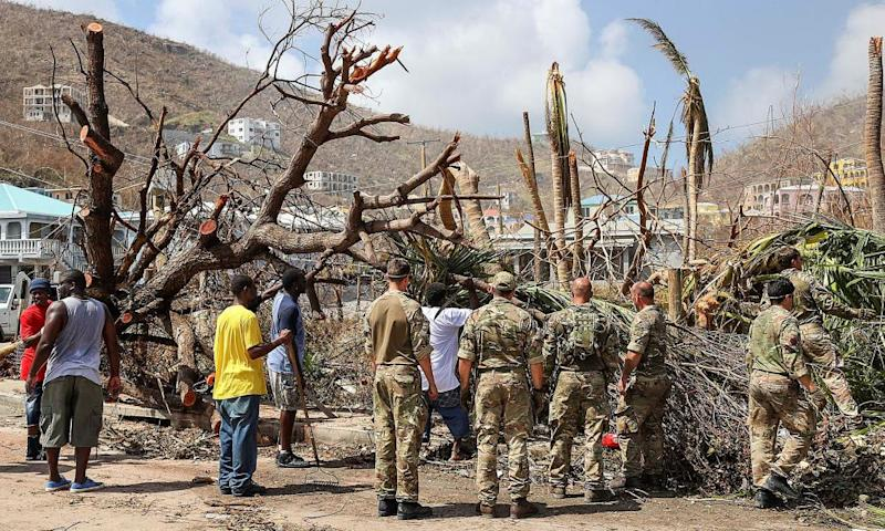 Members of the British army help cleanup efforts on the British Virgin Islands.
