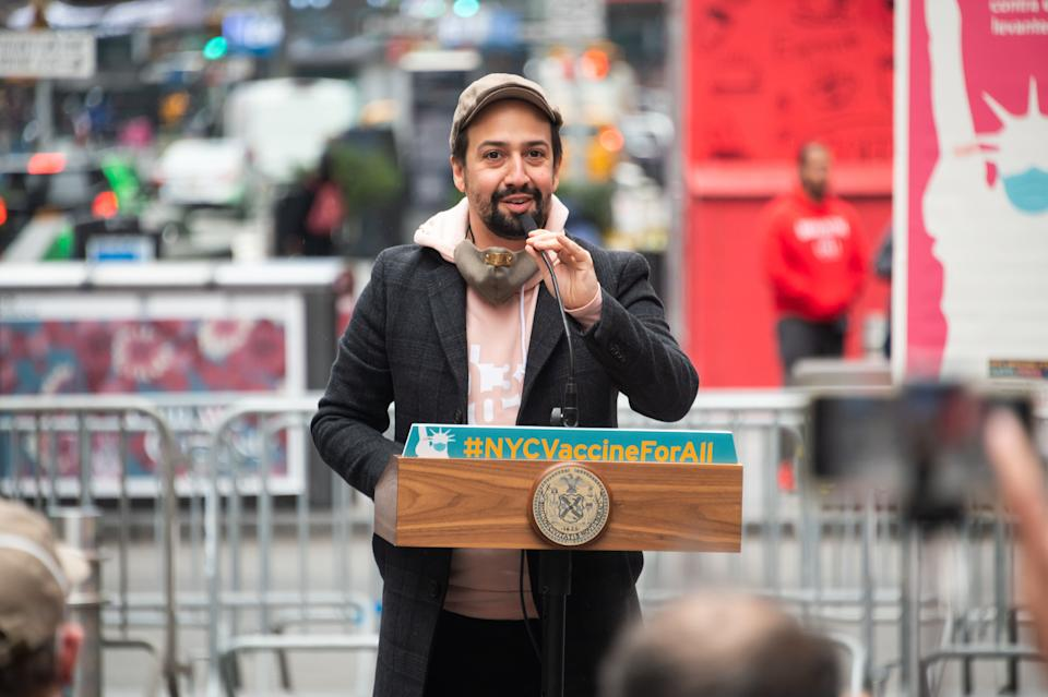 Lin-Manuel Miranda speaks during the opening of a vaccination center for Broadway workers in New York. (Photo: Noam Galai via Getty Images)