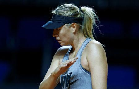 Russia's tennis player Maria Sharapova attends a training session during the Stuttgart tennis Grand Prix, Germany April 26, 2017. REUTERS/Ralph Orlowski