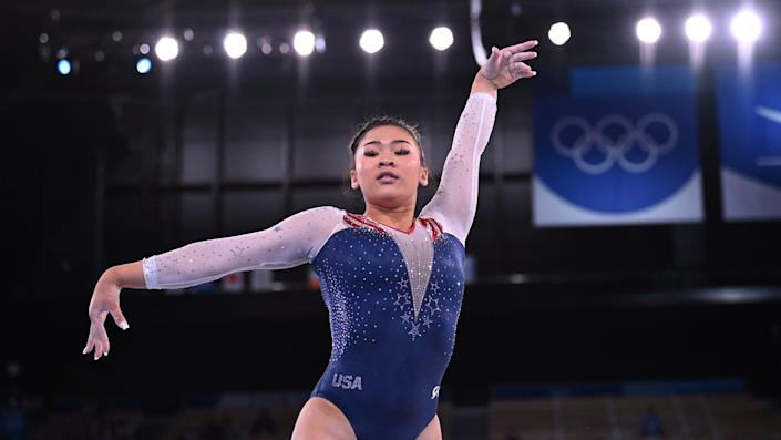 Sunisa Lee competes in the individual all-around at the Tokyo Olympics.