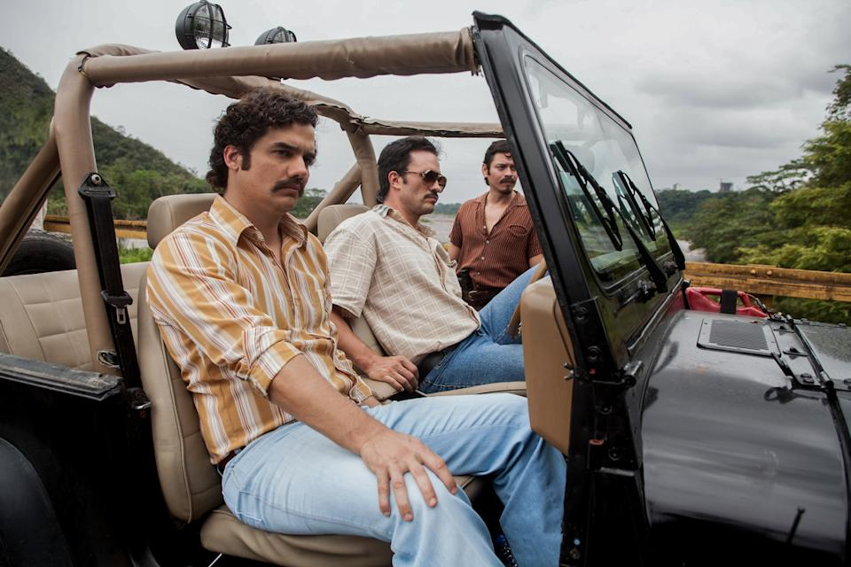 Wagner Moura's Pablo Escobar and Juan Pablo Raba's right-hand man Gustavo in Narcos. (Netflix)