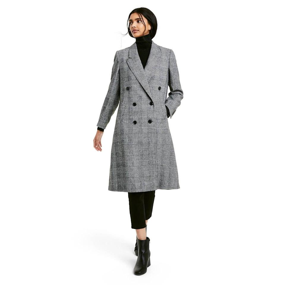<p>You're going to want to get this chic <span>Nili Lotan x Target Plaid Double Breasted Overcoat</span> ($80) before it sells out. We love the gray plaid style.</p>