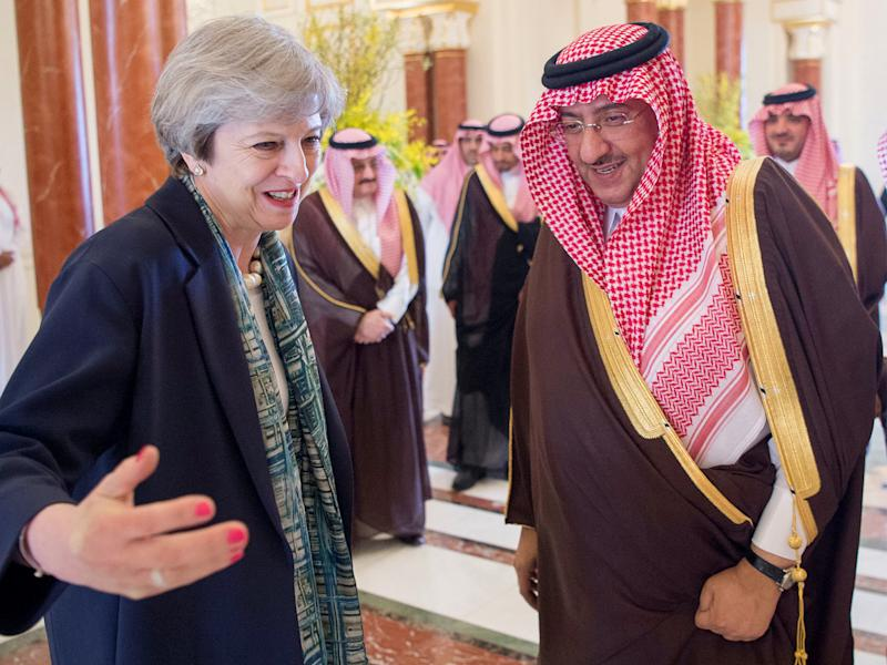 Saudi Arabian Crown Prince Muhammad bin Nayef welcomes British Prime Minister Theresa May in Riyadh, Saudi Arabia: Reuters