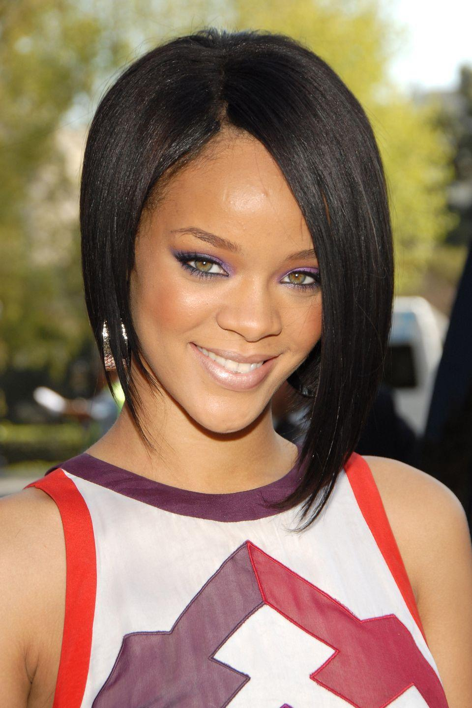 <p>Rihanna's angled bob is iconic, with the front layers being longer than the back. </p>