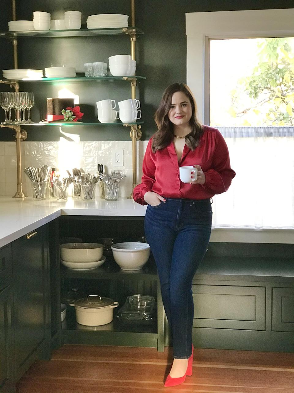<p>I styled my <span>Banana Republic High-Rise Slim Jeans</span> ($68, originally $99) with a red blouse, but I'll definitely be wearing them with a classic tee through 2021 as well.</p>
