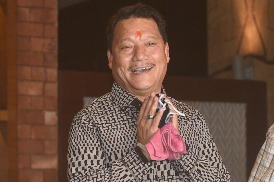 Gorkha Janmukti Morcha leader Bimal Gurung during a press conference at the Lalit Great Eastern Kolkata hotel on October 21, 2020 in Kolkata, India.  (Photo: Hindustan Times via Getty Images)