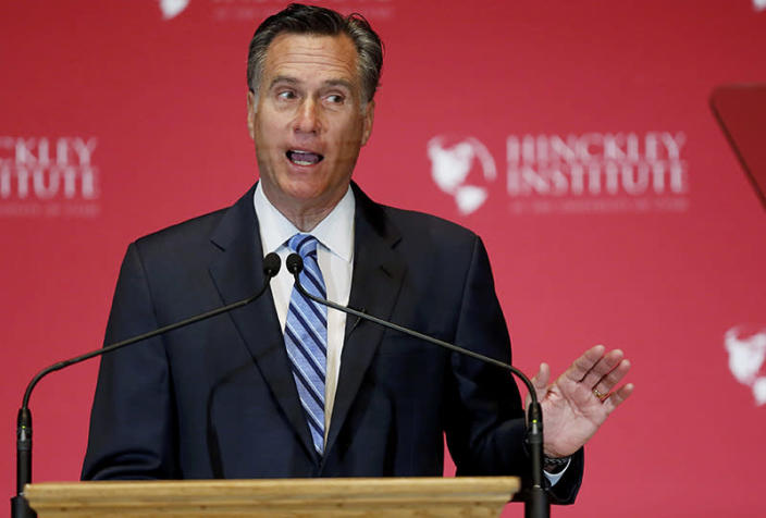 Mitt Romney criticizes Donald Trump during a speech at the Hinckley Institute of Politics at the University of Utah on March 3. (Photo: Jim Urquhart/Reuters)
