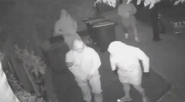 The men were caught on security cameras approaching the house...