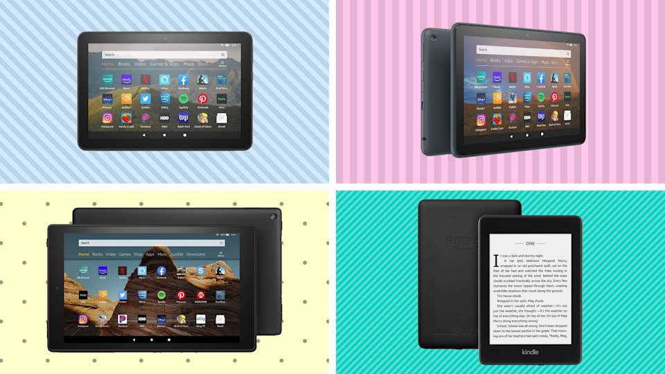 Amazon's Fire tablets and Kindle e-readers are on sale for a fraction of the price — starting at just $45. (Photo: Amazon)