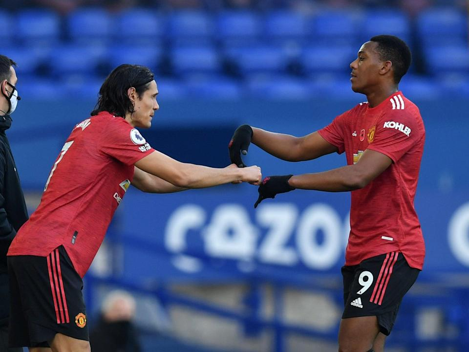 Manchester United strikers Edinson Cavani and Anthony Martial (Getty Images)