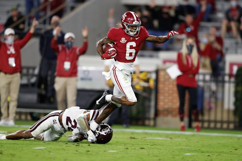 TUSCALOOSA, AL - OCTOBER 31: Devonta Smith #6 of the Alabama Crimson Tide runs the ball against the Mississippi State Bulldogs at Bryant-Denny Stadium on October 31, 2020 in Tuscaloosa, Alabama. (Photo by UA Athletics/Collegiate Images/Getty Images)