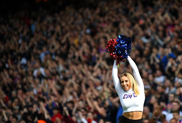 "Soccer Football - Premier League - Crystal Palace vs Brighton & Hove Albion - Selhurst Park, London, Britain - April 14, 2018 Crystal Palace cheerleader REUTERS/Dylan Martinez EDITORIAL USE ONLY. No use with unauthorized audio, video, data, fixture lists, club/league logos or ""live"" services. Online in-match use limited to 75 images, no video emulation. No use in betting, games or single club/league/player publications. Please contact your account representative for further details."