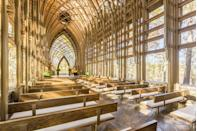 """<p>Designed by Fayetteville, Arkansas, architects E. Fay Jones and Maurice Jennings, the <a href=""""http://www.cooperchapel.com/index.html"""" rel=""""nofollow noopener"""" target=""""_blank"""" data-ylk=""""slk:Mildred B. Cooper Memorial Chapel"""" class=""""link rapid-noclick-resp"""">Mildred B. Cooper Memorial Chapel</a> sits on a quiet hilltop overlooking Bella Vista's Lake Norwood. The chapel's 15 main arches stand 50 feet tall, and its walls are made of 4,460 square feet of glass. If you're already imagining your wedding or vow renewal taking place here, you're in luck: The chapel can be reserved for special ceremonies.</p>"""