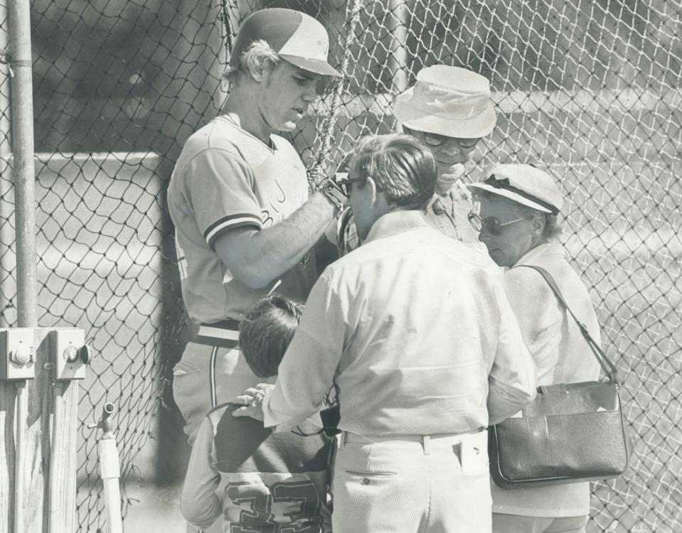 Then-Blue Jays rookie outfielder Jay Schroeder, who later would be a quarterback for the Washington Redskins, signed autographs in spring training in 1980. (Photo by John Mahler/Toronto Star via Getty Images)
