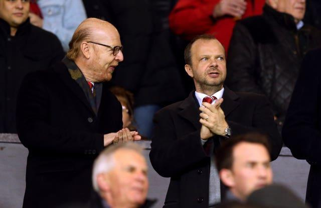 Manchester United's co-chairman Joel Glazer, left, with executive vice-chairman Ed Woodward