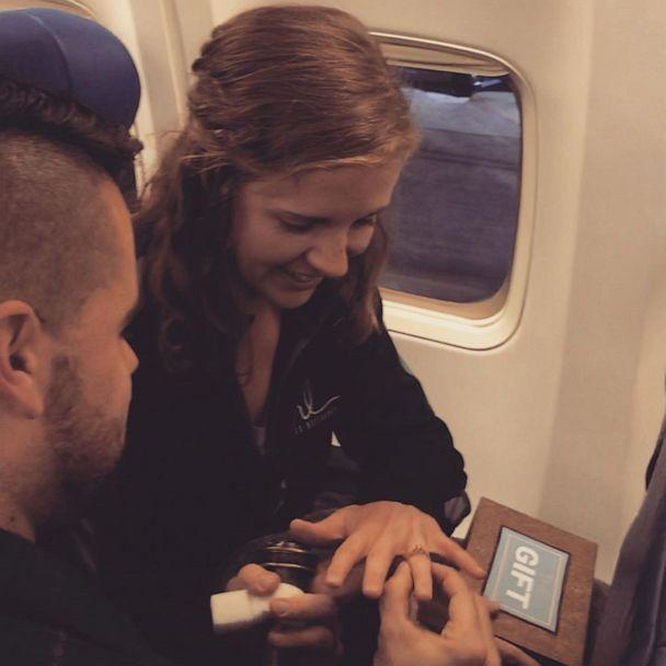 PHOTO: Woman shocked when boyfriend surprises her on flight and proposes (Southwest Airlines)