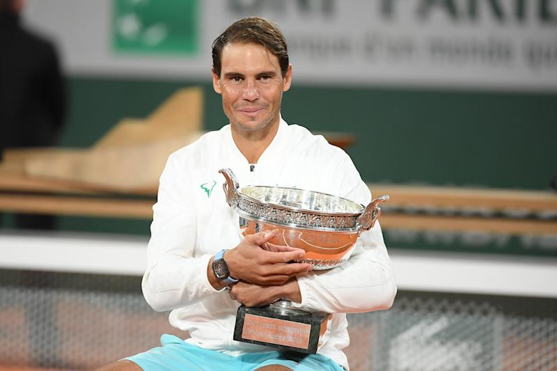 Rafael Nadal of Spain after the match at the award ceremony at Roland Garros on October 11, 2020 in Paris, France.