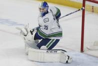 Vancouver Canucks' goalie Jacob Markstrom of Sweden in the first period of an NHL hockey game against the Minnesota Wild, Sunday, Jan. 12, 2020, in St. Paul, Minn. Vancouver won 4-1. (AP Photo/Stacy Bengs)