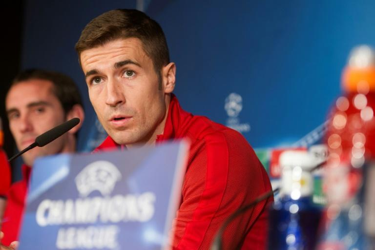 Atletico Madrid midfielder Gabi pictured during a press conference at Santiago Bernabeu stadium in Madrid on May 1, 2017 on the eve of their Champions League semi-final first leg against Real Madrid