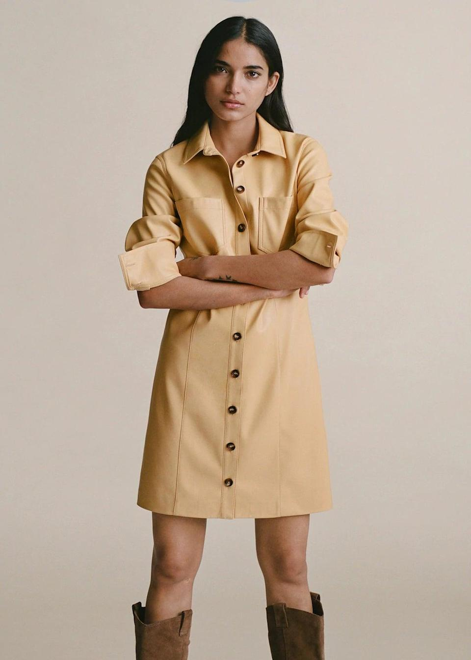 <p>I love everything about this <span>Mango Faux-Leather Shirt Dress</span> ($48, originally $80).</p>