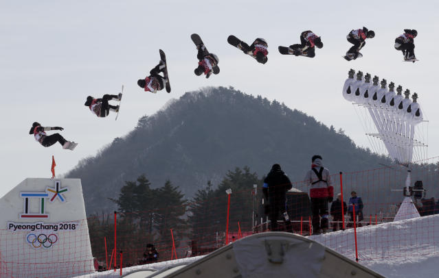 <p>In this multiple exposure image Laurie Blouin, of Canada, jumps during qualification for the women's big air snowboard competition at the 2018 Winter Olympics in Pyeongchang, South Korea, Monday, Feb. 19, 2018. (AP Photo/Dmitri Lovetsky) </p>