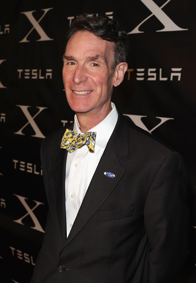 LOS ANGELES, CA - FEBRUARY 09:  Scientist Bill Nye arrives at Tesla Worldwide Debut of Model X on February 9, 2012 in Los Angeles, California.  (Photo by Jason Merritt/Getty Images for Tesla)