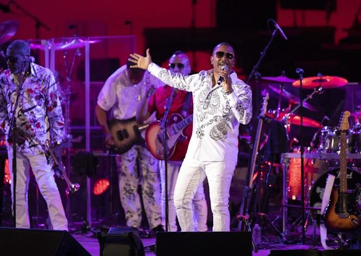 LOS ANGELES, CA - JULY 03: Kool & the Gang performs during the first full-capacity concert at the Hollywood Bowl on Saturday, July 3, 2021. (Myung J. Chun / Los Angeles Times)