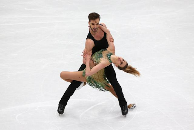 Figure Skating - World Figure Skating Championships - The Mediolanum Forum, Milan, Italy - March 23, 2018 Gabriella Papadakis and Guillaume Cizeron of France during the Ice Dance Short Dance program REUTERS/Alessandro Bianchi