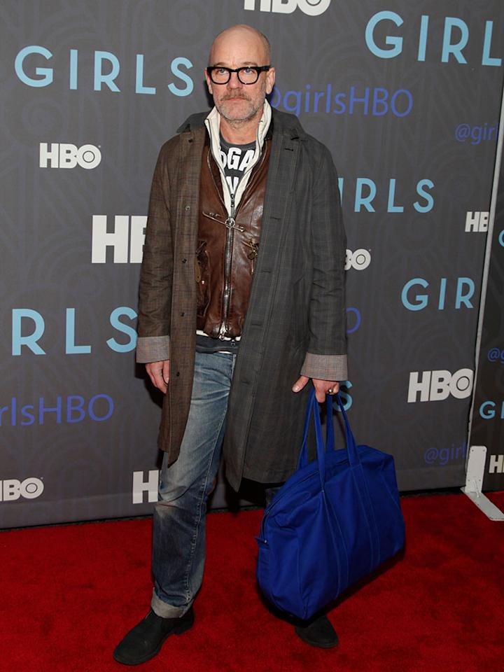 "Michael Stipe attends HBO's premiere of ""Girls"" Season 2 at the NYU Skirball Center on January 9, 2013 in New York City."