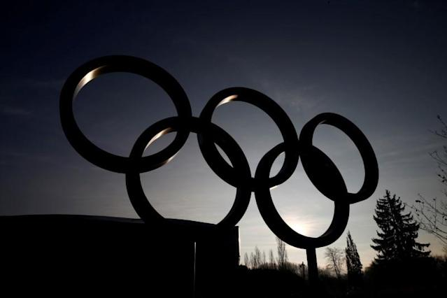 FILE PHOTO: The rings are pictured in front of the IOC in Lausanne
