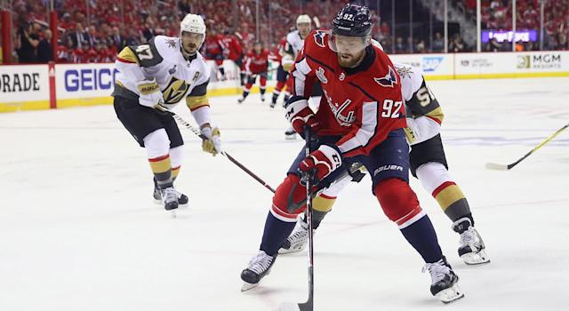 "<a class=""link rapid-noclick-resp"" href=""/nhl/players/4986/"" data-ylk=""slk:Evgeny Kuznetsov"">Evgeny Kuznetsov</a> will be crucial as the Caps look to take a stranglehold in Game 4. (Gregory Shamus/Getty Images)"