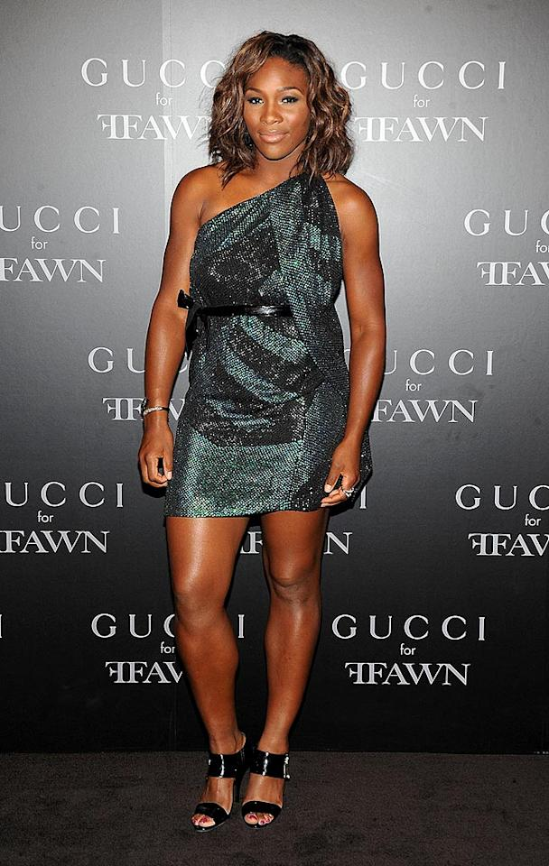 """She's been lying low since her outburst (and subsequent apology) at the US Open, but tennis ace Serena Williams returned with a bang in a one-shoulder green and black crystal-encrusted Gucci mini at a charity event in NYC. Jamie McCarthy/<a href=""""http://www.wireimage.com"""" target=""""new"""">WireImage.com</a> - September 16, 2009"""
