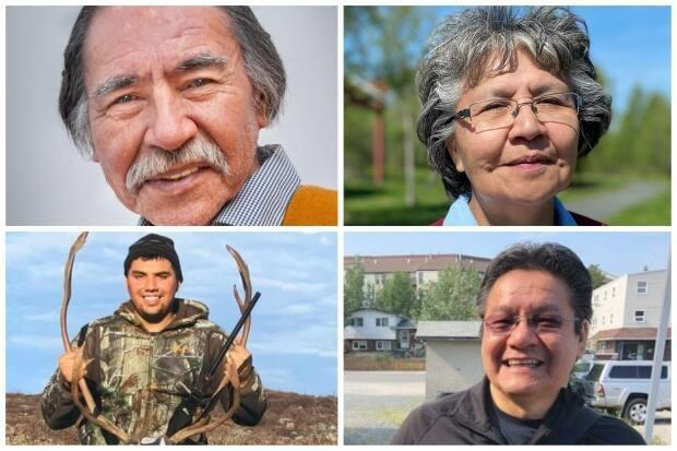 Four candidates are running in the Monfwi byelection on Tuesday. Clockwise from top left, they are James Wah-Shee, Jane Weyallon Armstrong, Jon Gon and Kelvin Kotchilea. (Submitted by Doreen Washie, Chantal Dubuc/CBC, submitted by Kelvin Kotchilea, Natalie Pressman/CBC - image credit)