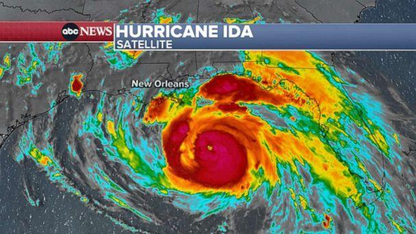 PHOTO: Hurricane Ida's eye was clearly visible on satellite late Saturday night. (ABC News)