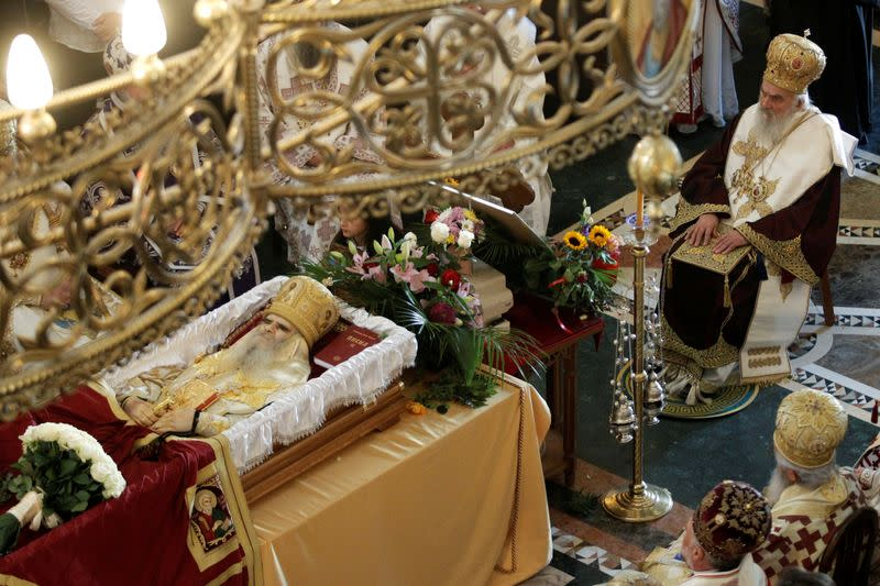 FILE PHOTO: The funeral of Metropolitan Amfilohije Radovic, the top cleric of the Serbian Orthodox Church in Montenegro, in Podgorica