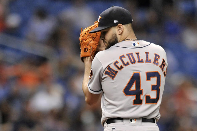 "<a class=""link rapid-noclick-resp"" href=""/mlb/teams/hou"" data-ylk=""slk:Houston Astros"">Houston Astros</a> starter Lance McCullers highlights this week's look at risers and fallers in fantasy baseball. (AP Photo)."