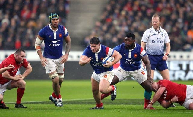 Julien Marchand, centre, is one of a number of France players to test positive for coronavirus