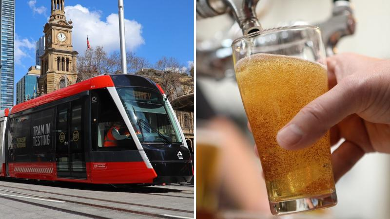 A Sydney light rail train on the left, and a beer tap pouring into a glass on the right.