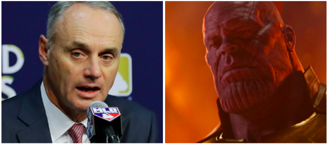 Rob Manfred might be at war with the players soon. (Photos via AP and Marvel)