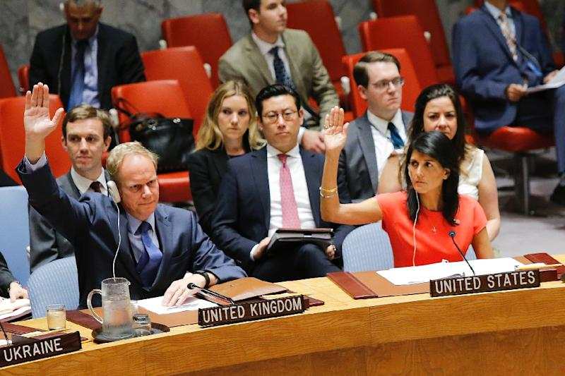 """US Ambassador Nikki Haley told the council that the stiffer measures brought the penalty imposed on North Korea for its ballistic missile tests """"to a whole new level"""" and that the council had put leader Kim Jong-Un """"on notice."""" (AFP Photo/EDUARDO MUNOZ ALVAREZ)"""